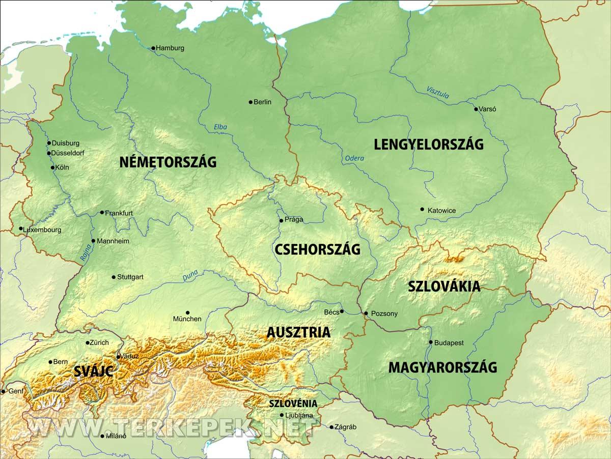 közép európa térkép Közép Európa térképe