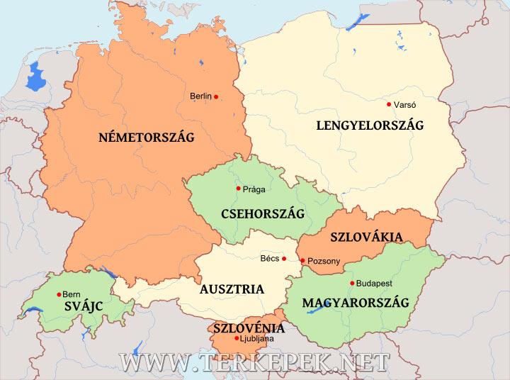 magyarország németország térkép Közép Európa térképe magyarország németország térkép